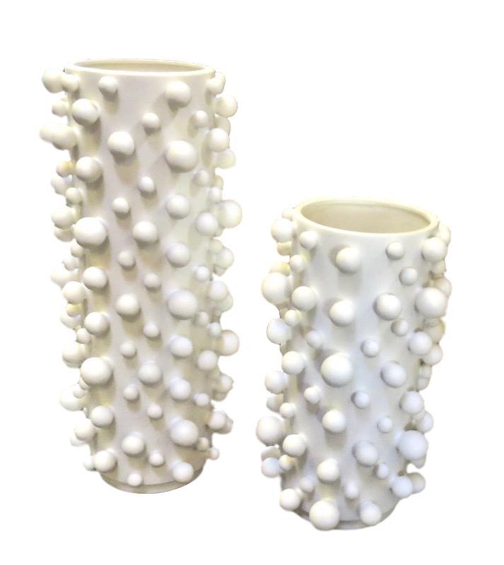 Ceramic Molecule Cylinder Vase, White   8dx19h   GV7.80416  7.5dx13.5h   GV7.80417