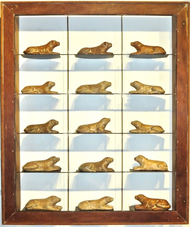 Laying Dogs Wood/Iron   41.5x6x49.5h  RL131DG