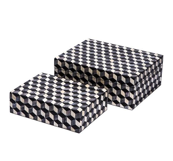 Escher Box, Grey/Black/White, Resin/Horn/Bone   11x8x3h   IH928022S  13x10x5h   IH928022L
