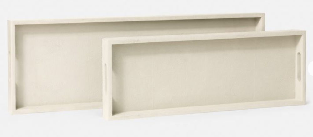 Console Tray Faux Shagreen, Off White  28x13x2h    MGEMYCTLW  24x11x2h    MGEMYCTSW