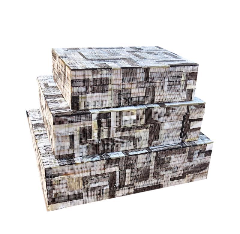 Absract Pattern Horn Box   Large 13x10x3.5h   BIJ679L  Medium 11x9x3h    BIJ679M  Small 9x7x2.5h   BIJ679S