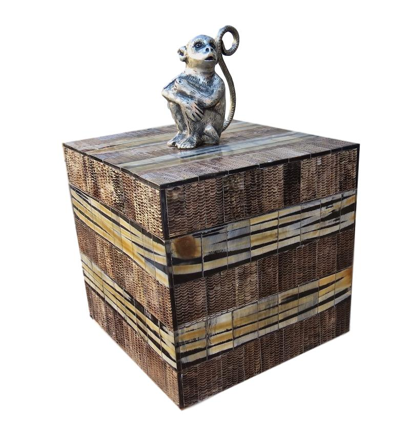 Etched Horn w/Pewter Monkey Box   8.5x8.5x12h     BIM542