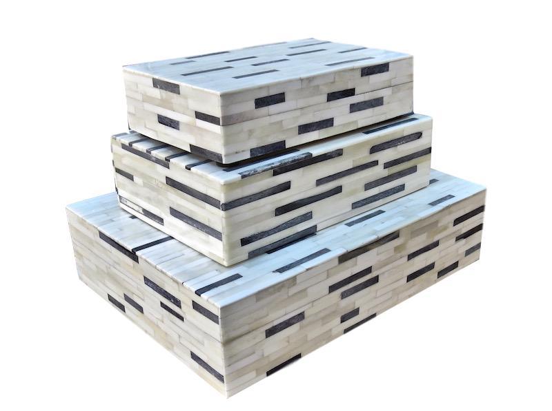 White/Black Dye Bone Box   Large 12x9x3h   BIJ69L  Medium 9x6x2.5h   BIJ69M  Small 8x5x2h   BIJ69S