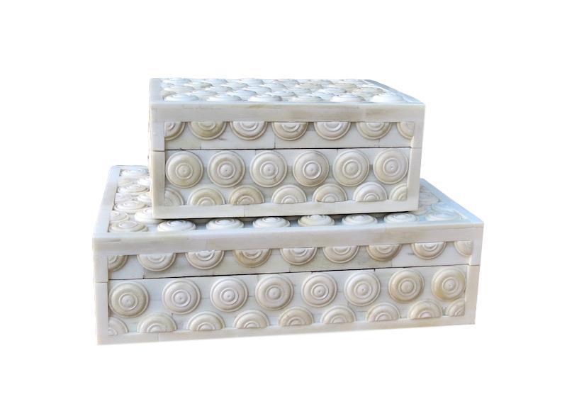 Raised Button Bone Box   Large 10.5x7.5x3h   BIJ867L  Small 7.5x5.5x3h    BIJ867S