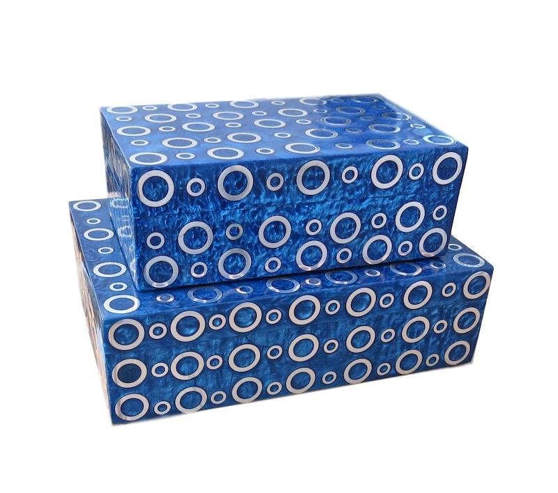 Blue Resin/Brass Rings Box   Large 10x7x3h   BIJ128L  Small 8x5x3h   BIJ128S
