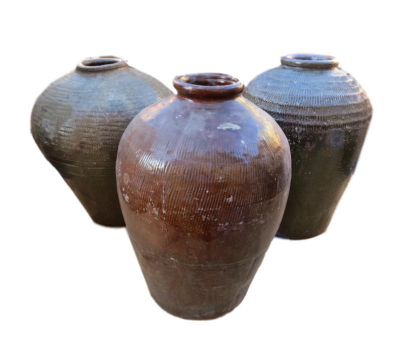 Vintage Mijiu Wine Jar Large 14dx19h   BOL33  Vintage Sake Pots 12dx19h+/-    BOFO911
