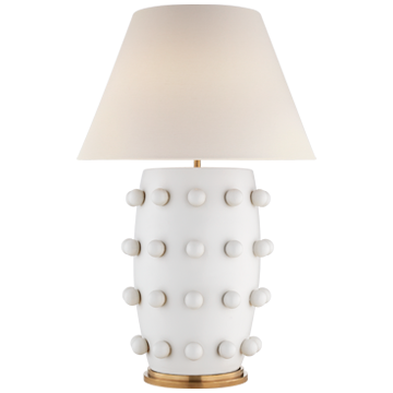 """Linden Table Lamp in Plaster White with Linen Shade  Item # KW 3032PW-L  23""""wx23""""dx34""""h"""
