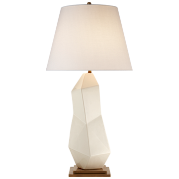 Bayliss Table Lamp in White Leather Ceramic with Linen Shade  KW 3046WLC-L   17wx17dx31.5h