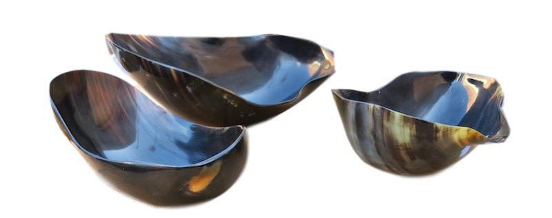 Horn Bowls   Large 14x9x5h +/-   BODV022  Medium 11x8x5h +/-   BODV021  Horn Bowl Small 10x5.5x5h    BODV020
