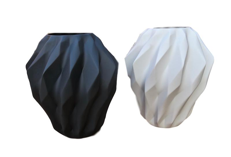 Matte Porcelain Geometric Wide Vase   11dx14h   Black RL557B, White RL557W
