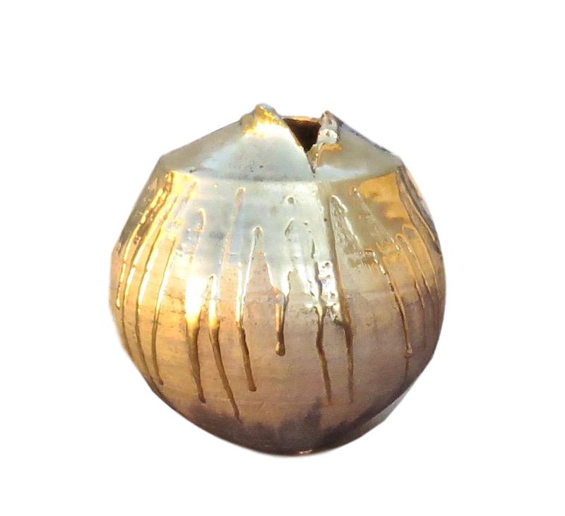 Tatiana, 23k Gold Shiny/Mat Torn Mouth Vase   9x9h  TA0082