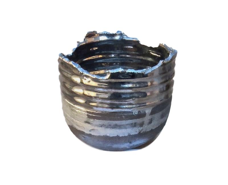 Tatiana, Platinum/Black Ceramic Large Relic Bowl   10dx8h  TA0105