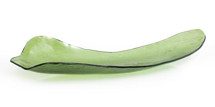 """Green Amazonas Leaf Glass Bowl   36x13x6""""h  RL256GR"""