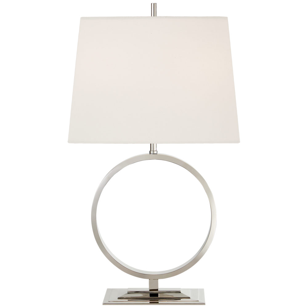Medium Simone Table Lamp Polished Nickel/Linen Shade  15Wx10.25Dx27H  VCTOB3630PN-L