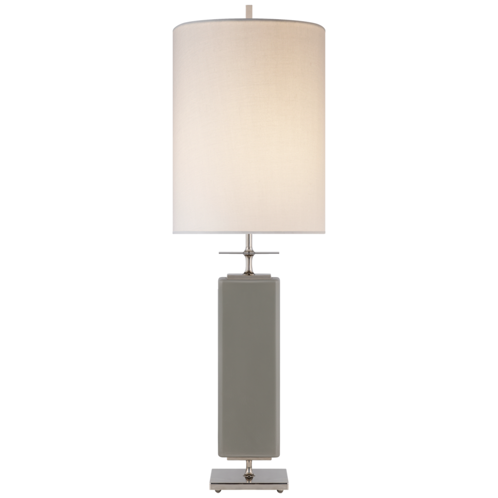 Kate Spade Beekman Table Lamp, Grey Painted Glass w/Linen Shade   12dx35h  VCKS3044GRY-L