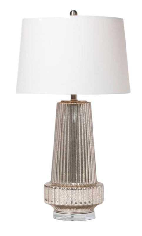 Ribbed Mercury Glass Table Lamp   17dx31h  MGDANETTE