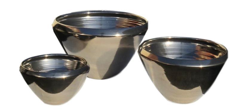 Ceramic V Bowl Mini Platinum  EUHS114MP   Mini 9dx5.5h  EUHS1141P   Small 10.5x7h  EUHS1142P    Medium 13dx9h