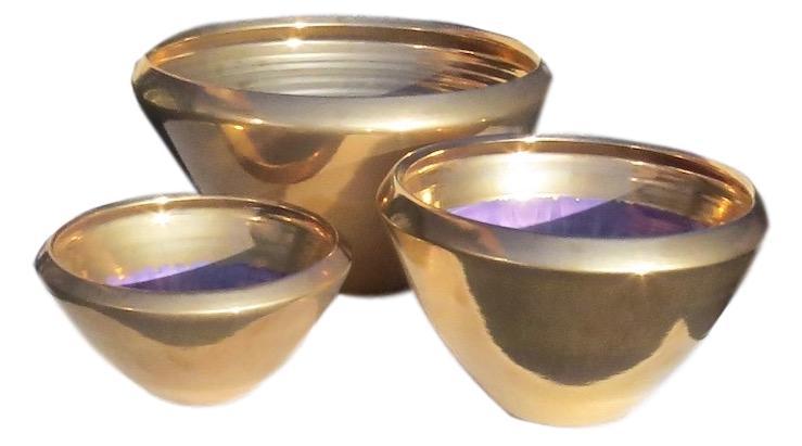 Ceramic V Bowl Mini Gold  EUHS114MG Mini 9dx5.5h  EUHS1141G Small 10.5x7h  EUHS1142G Medium 13dx9h