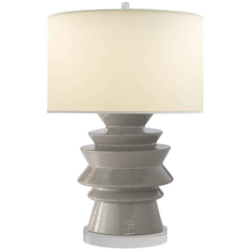 Stacked Disc Table Lamp Shellish Gray Percale shade   19.5dx29h  VCCHA8693SHG-PL