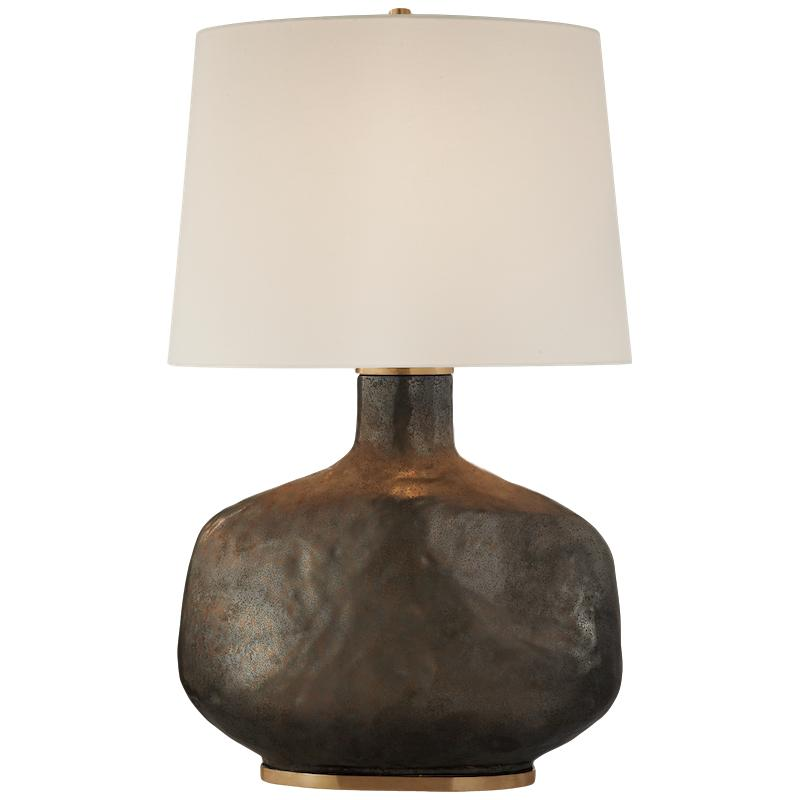 Beton Large Table Lamp Crystal Bronze Ceramic Linen Shade   21.5dx35h  VCKW3614CBZ-L