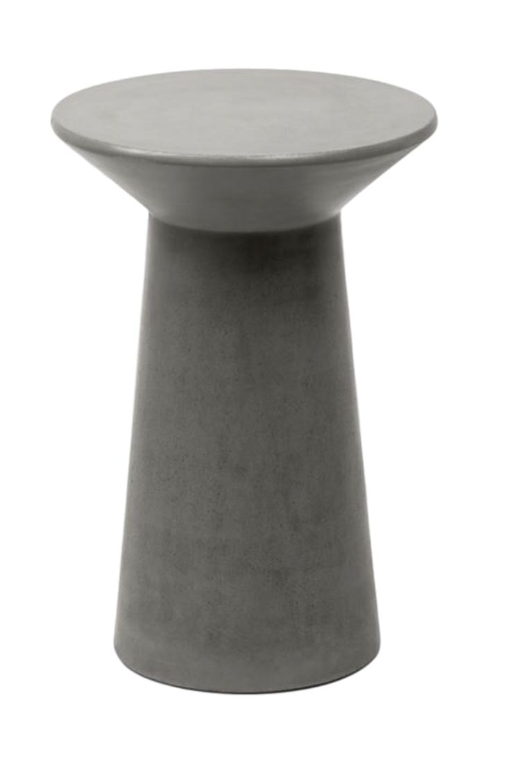 Indoor/Outdoor Reinforced Concrete Side Table Grey   16dx24h  MGMASON