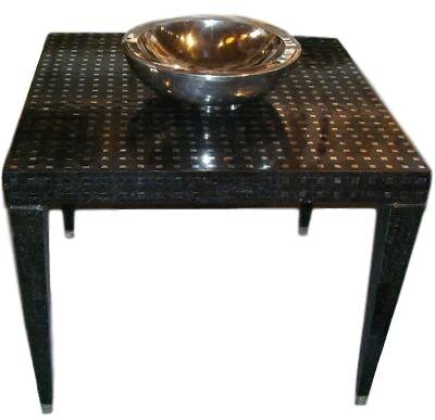 "Black Stone & Aluminum Game Table   36"" × 36"" × 29""H   OG89 -CHK"