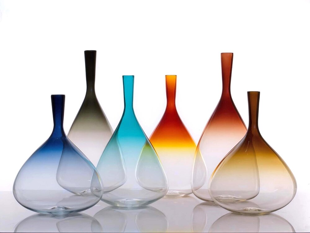 Aurora Glass Bottle, Grey, Steel Blue, Turquoise, Tea, Topaz  8.5dx13h +/-  VWAUR13