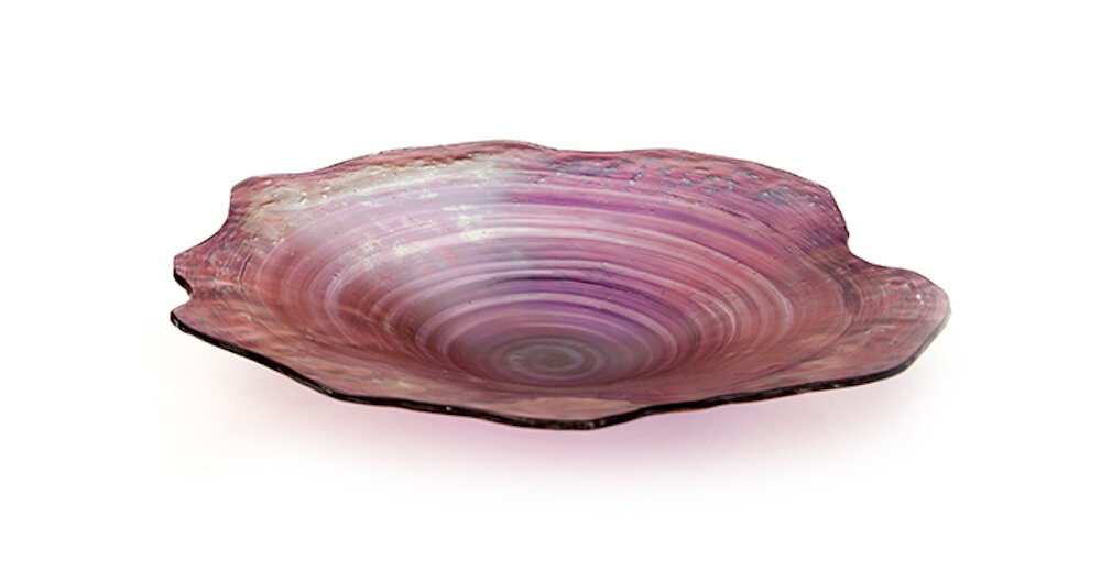 "Jagged Edge Glass Bowl, Opal  27dx5""h  RL486PP"