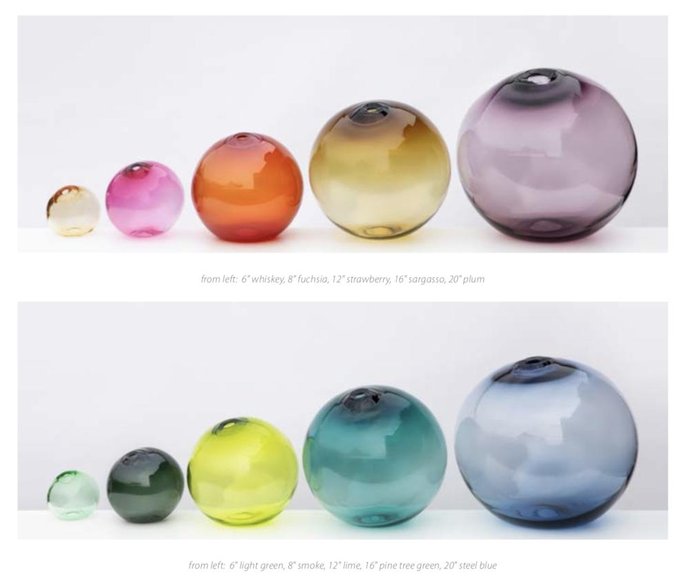 "Float Vessel, Glass  4""d- Red, Smoke  6""d- Plum, Olivin  8""d- Amber, Red, Smoke  12""d- Amber, Plum, Smoke  16""d- Plum, Smoke  20""d- Red, Smoke"