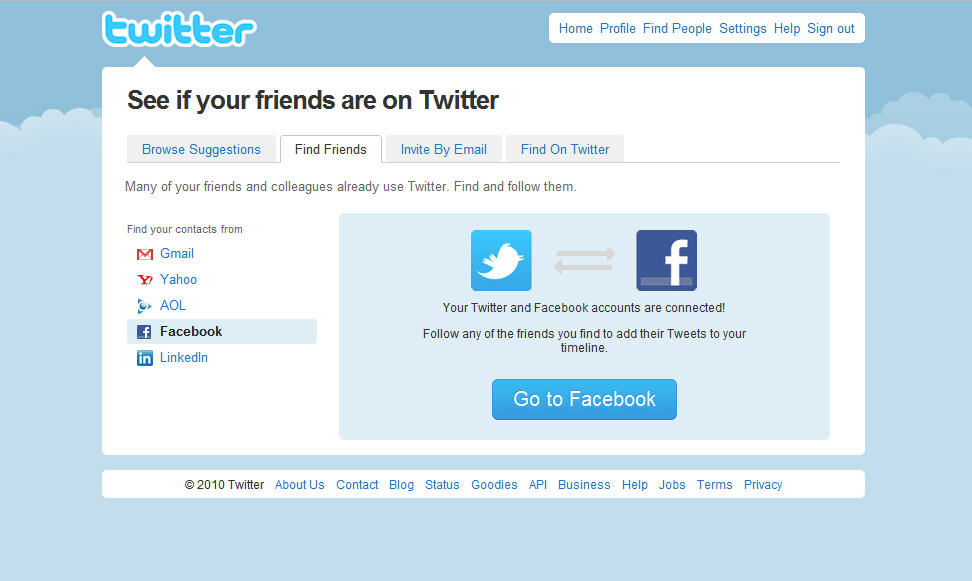 Find facebook friends on twitter app