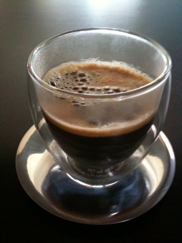 "Espresso served! Loving our new Bodum ""Pavina"" double-walled glass 	cups! #fb"
