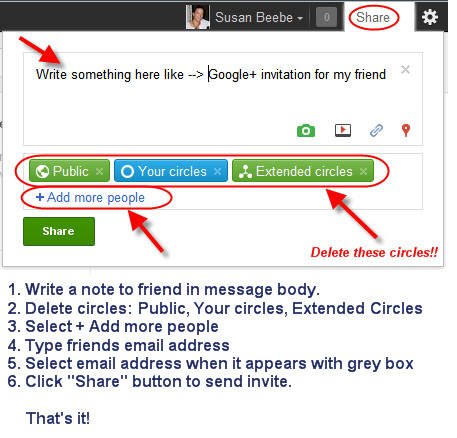 How to send Google+ invites