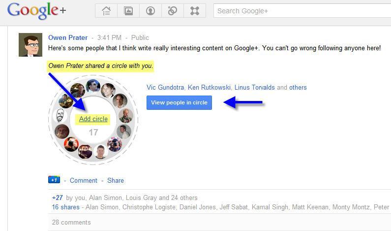 google circle sharing1