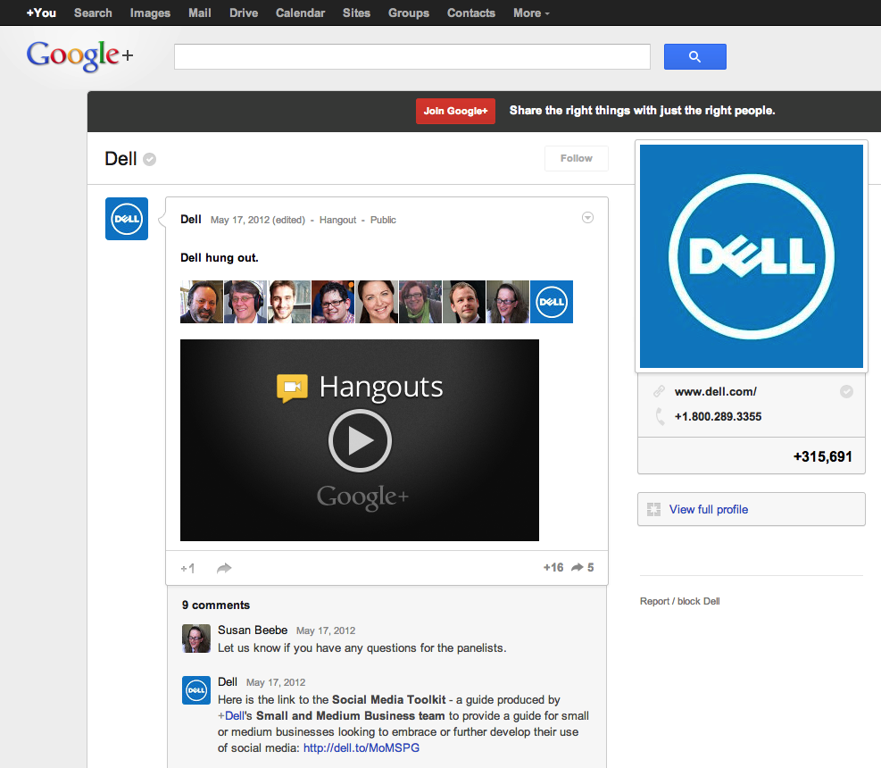 Google+ Hangout SMB Social Media Toolkit introduction
