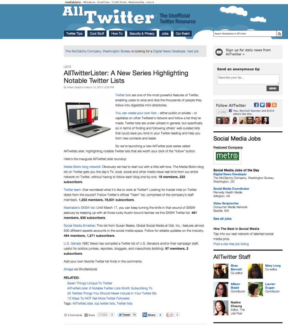 MediaBistro.com - All Twitter Lister - Notable Twitter Lists
