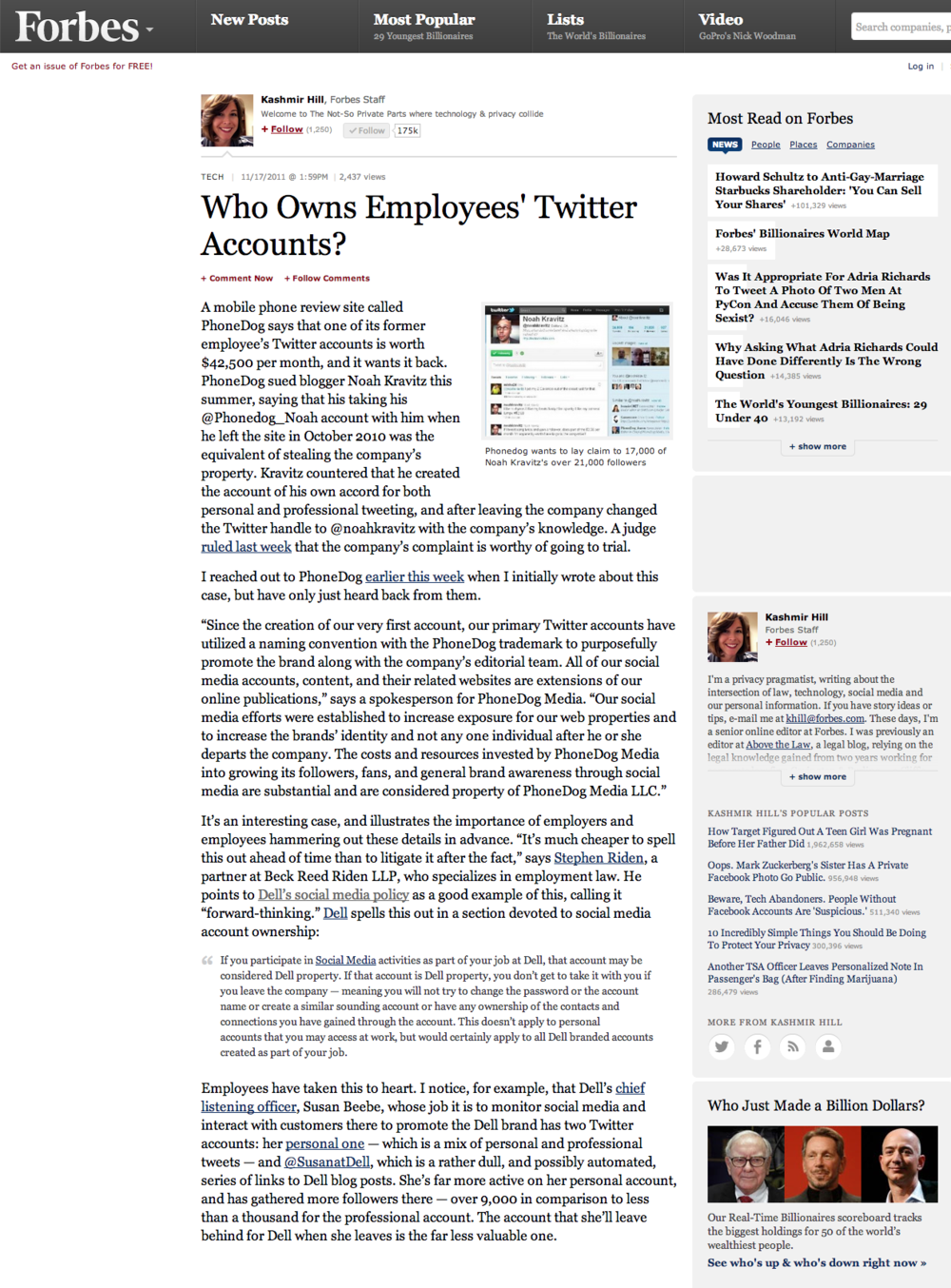 Forbes - Who owns employee twitter accounts?