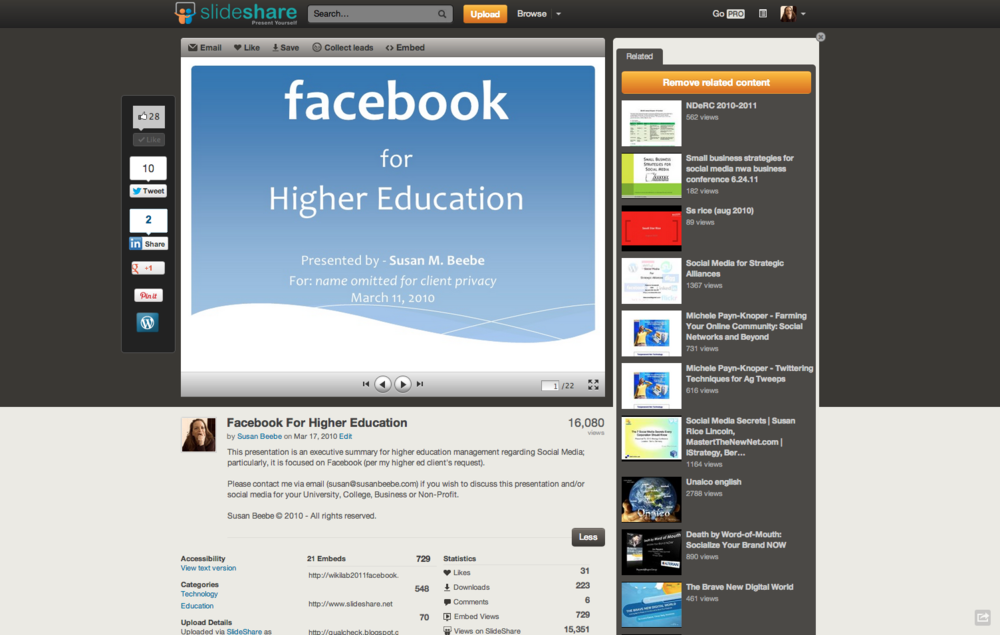 Facebook for Higher Education by Susan Beebe on Slideshare