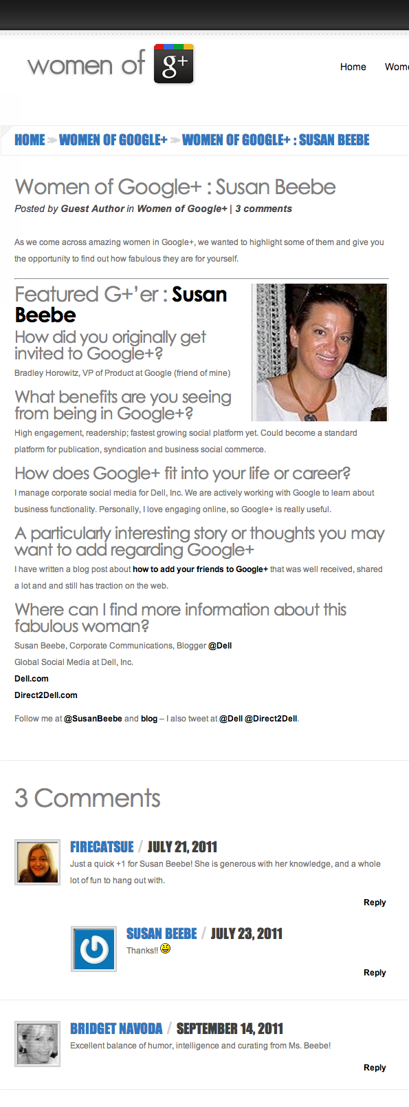 Featured on Women of Google+