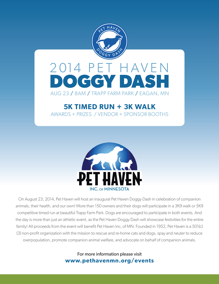 Poster produced for the Pet Haven Doggy Dash