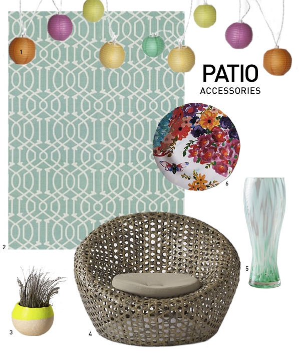 1. Oh Joy! Colored Lantern String Lights 2. Patio Rug from Target 3. Plant Pod from Anthropologie 4. Basket chair from Ultimate Patio  5. Pilsner Glass from Anthropologie 6. Dinner Plate from Antropologie