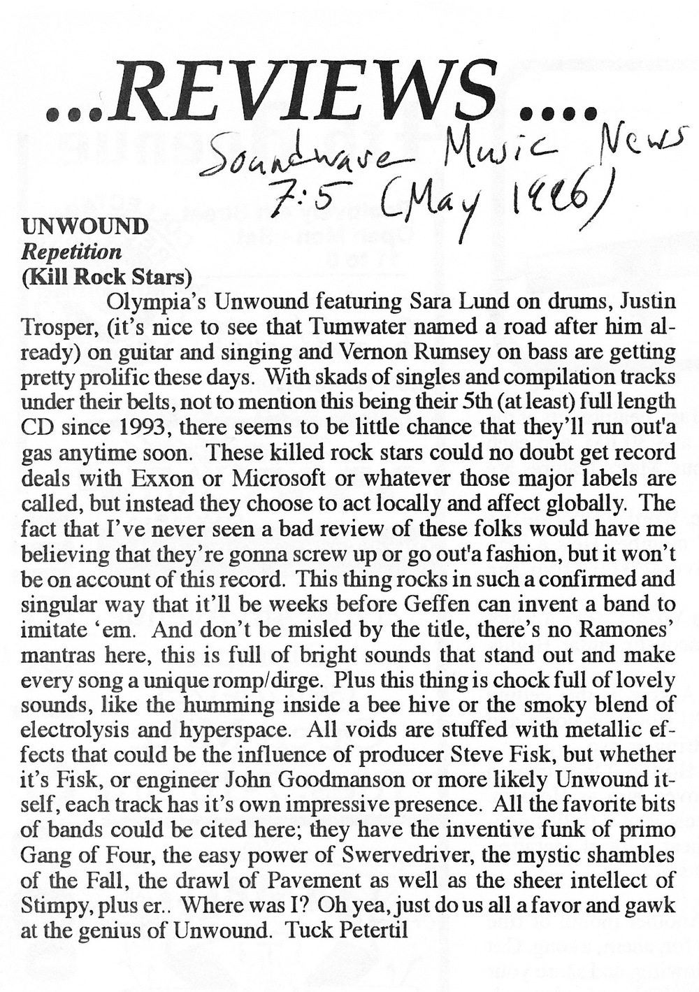 Soundwave Music News Repetition review May 1996