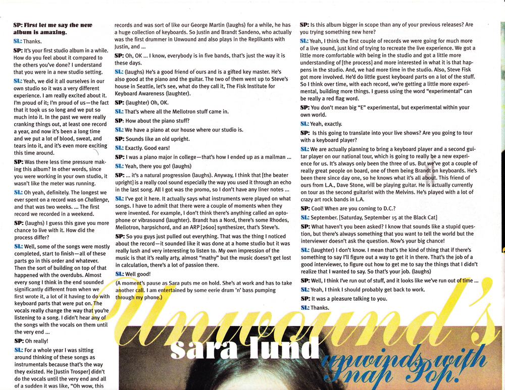 Snap Pop! Sept/Oct 2001 Interview with Sara Lund p.1