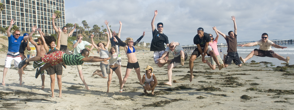 Group Jumping at the Beach