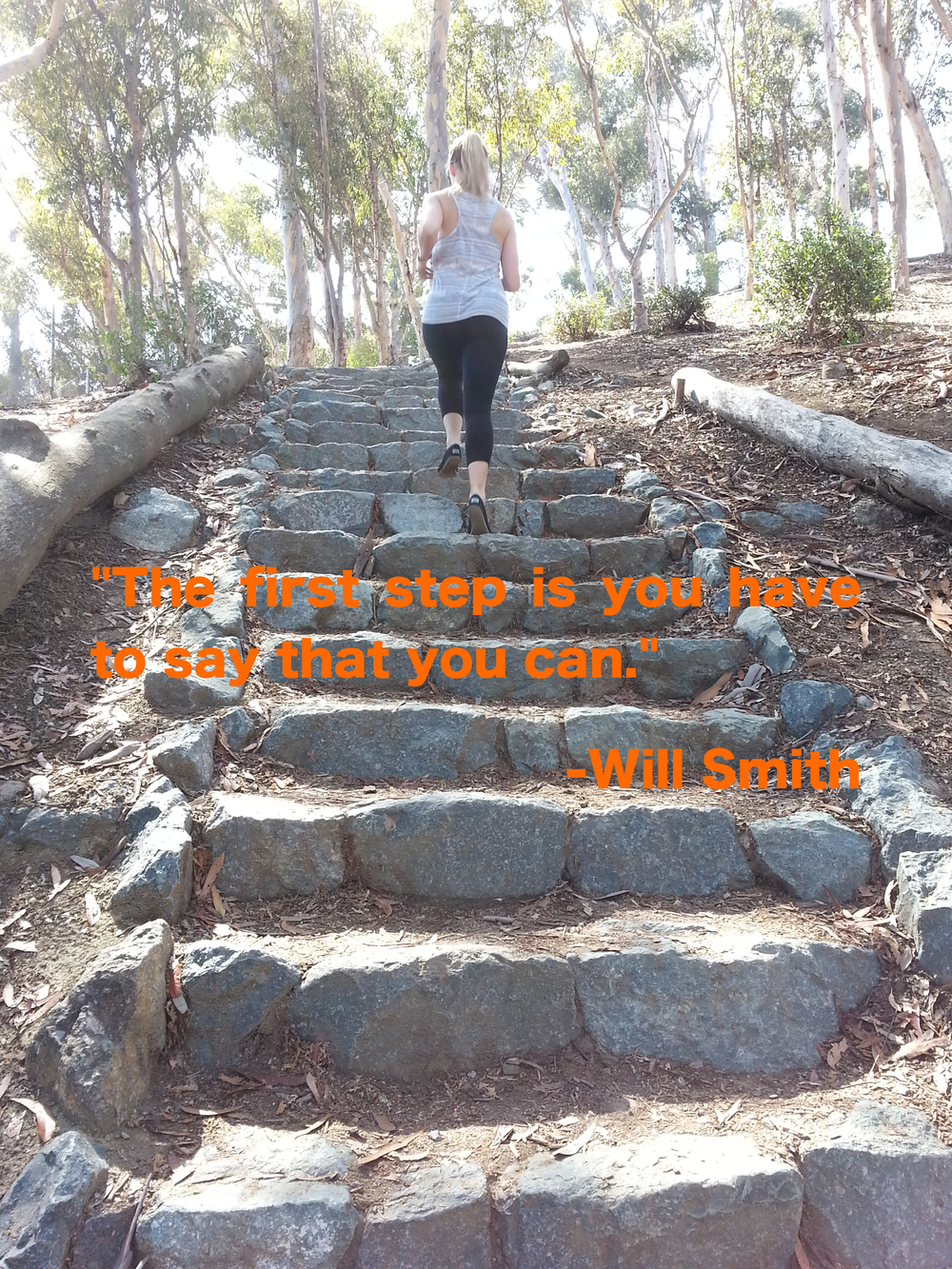 Strong Made Simple personal training client running the Juniper Staircase at Balboa Park