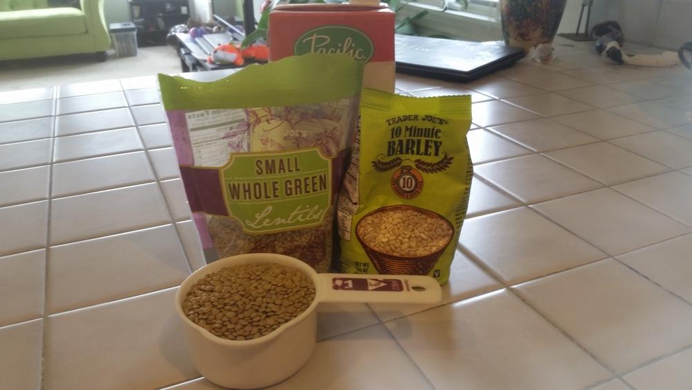 green lentil bulgur salad ingredients 1