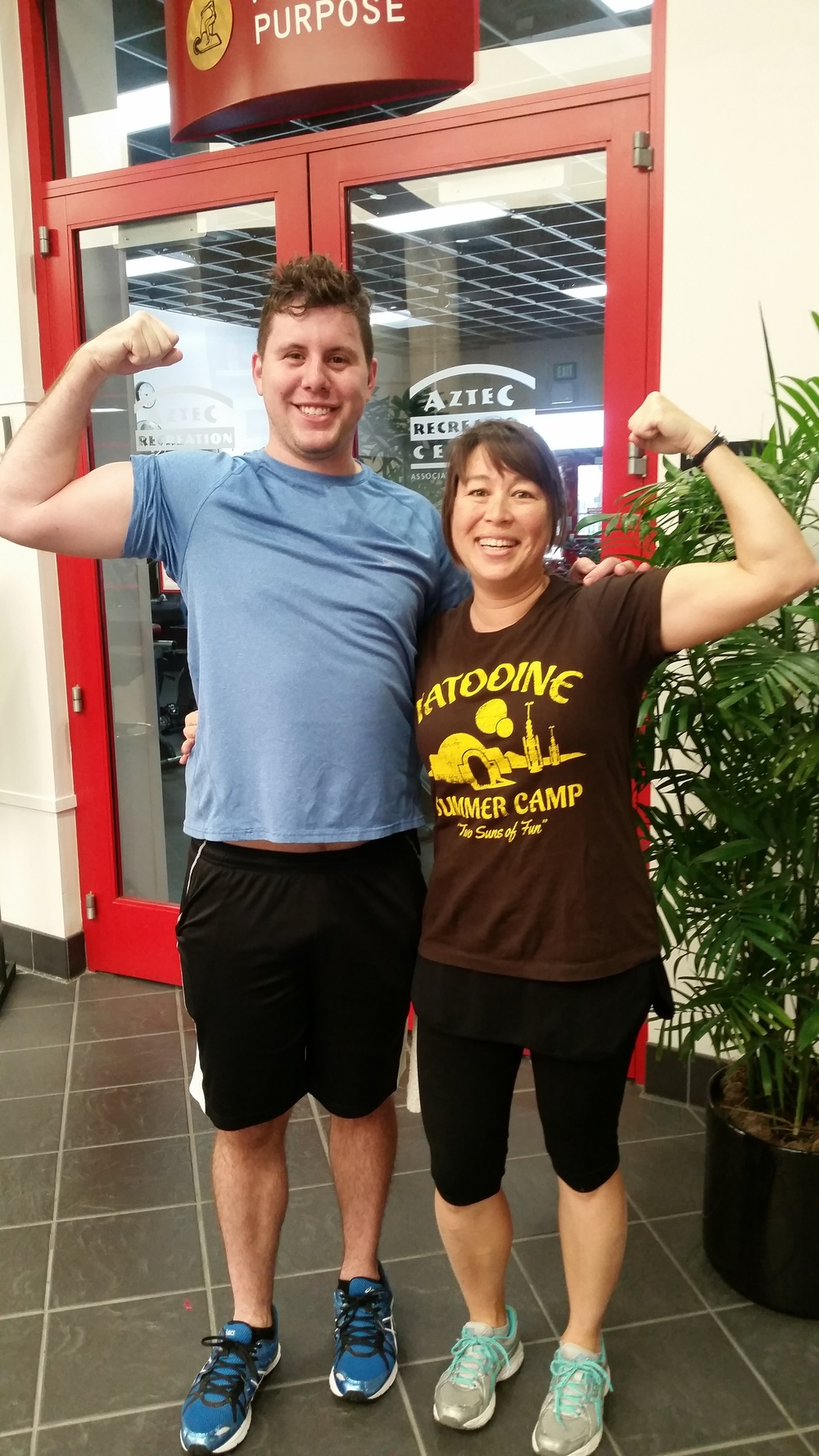 Personal training partners. Come for the guns and stay for the  Star Wars shirts!