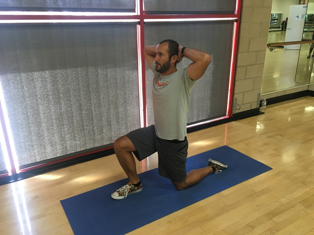 Half Kneeling Position. Another great way to engage the core and glutes, but with more emphasis on stretching the hip flexors and quadriceps.