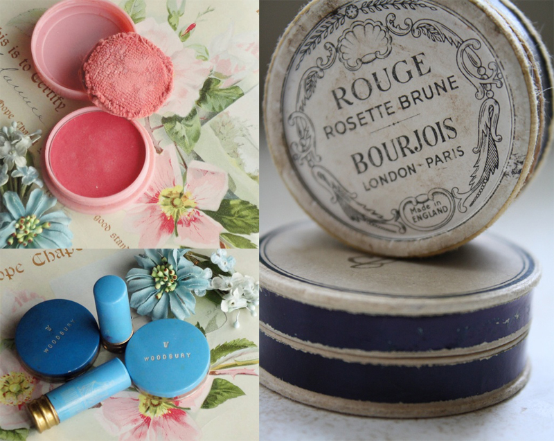 sources: pink rouge, blue make-up, old bourjois rouge