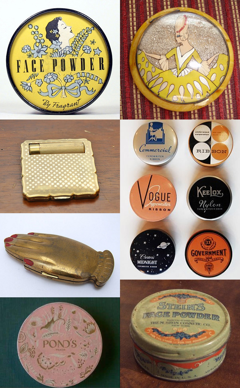 sources: 1st column: yellow face powder, golden compact, hand compact, pink pond's rouge; 2nd column: yellow compact, collection of tins, stein's face powder