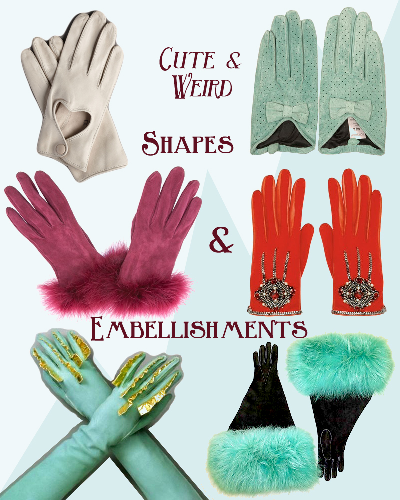 bhldn heart cutout gloves , mint topshop gloves,  christi  an dior vintage 70's feather trim gloves ,  bejeweled red chanel gloves ,  gloves from Schiaparelli's Spring-Summer 1939 collection ,  1930s black and turquoise gloves